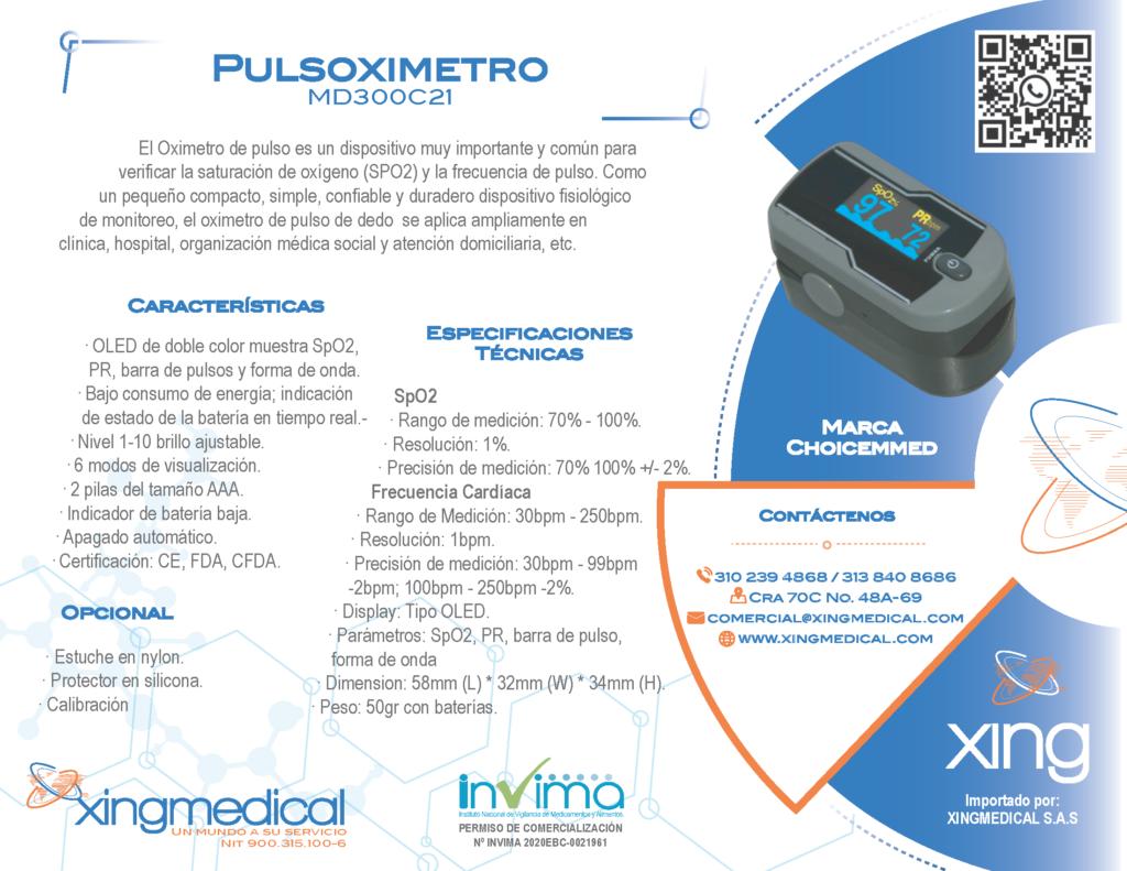 Pulsioximetro con curva colombia bogota MD300C21