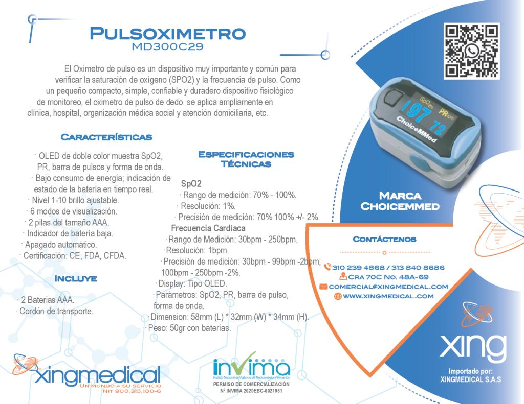 Pulsioximetro con curva BOGOTA colombia MD300C29